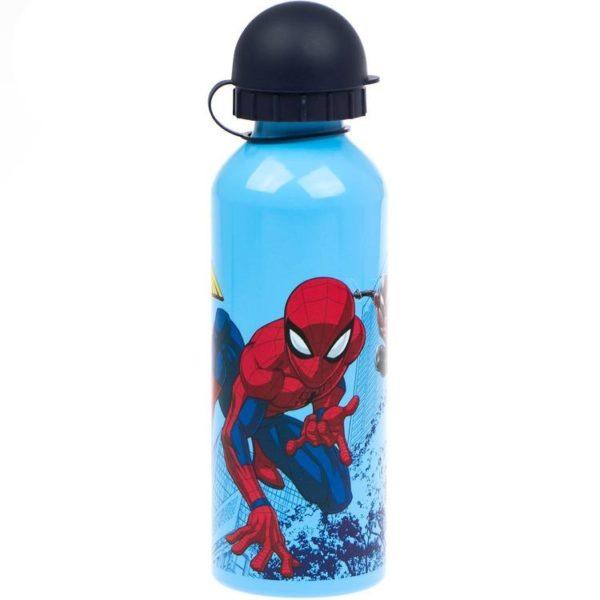 Spiderman och Spider Woman blå flaska av aluminium 500ml Marvel