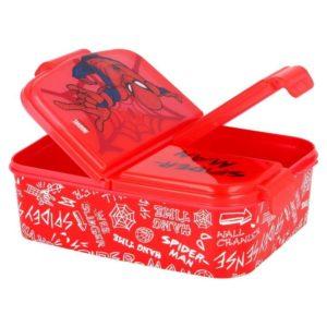 Spiderman röd matlåda med 3 fack BPA fri Marvel