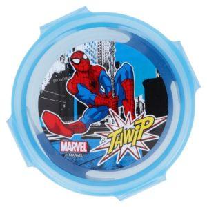 """Spiderman """"Thwip"""" rund låda med luft- och vattentät förslutning BPA fri Marvel"""