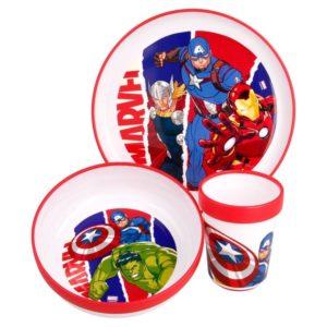 Avengers premium non-slip 3-set skål, tallrik och mugg Marvel