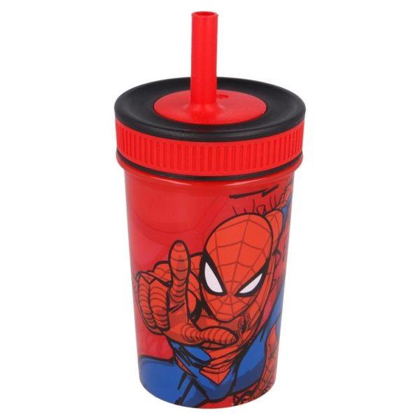 Spiderman mugg med silikonsugrör 370ml Marvel