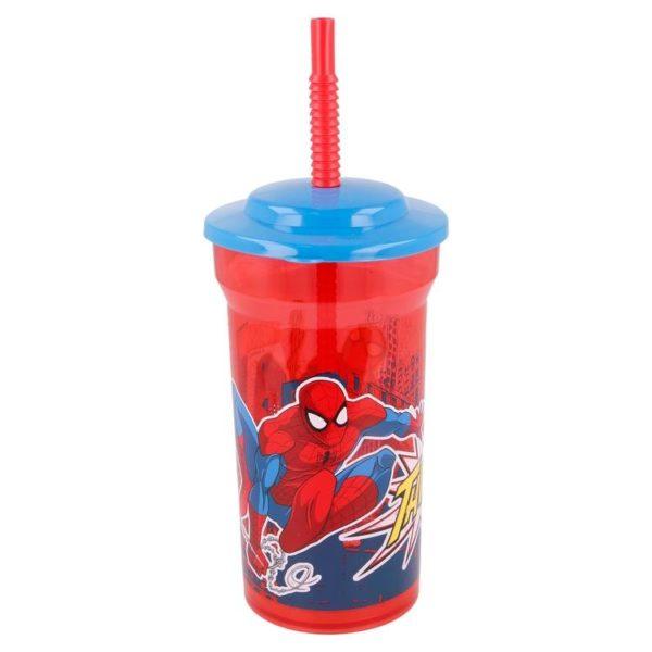 Spiderman mugg med sugrör 460ml Marvel
