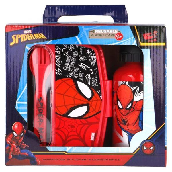 Spiderman matlåda med bestick och aluminiumflaska BPA fri Marvel