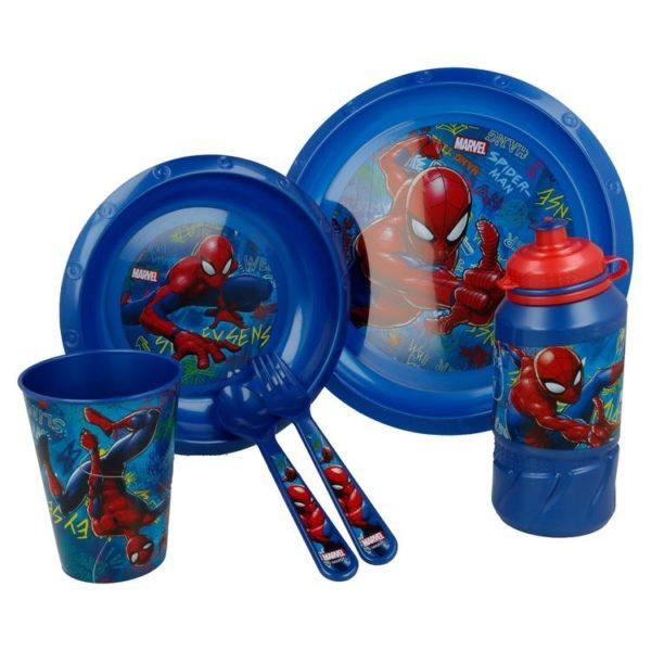 Spiderman Graffiti 6-set skål, tallrik, bestick, mugg och flaska Marvel