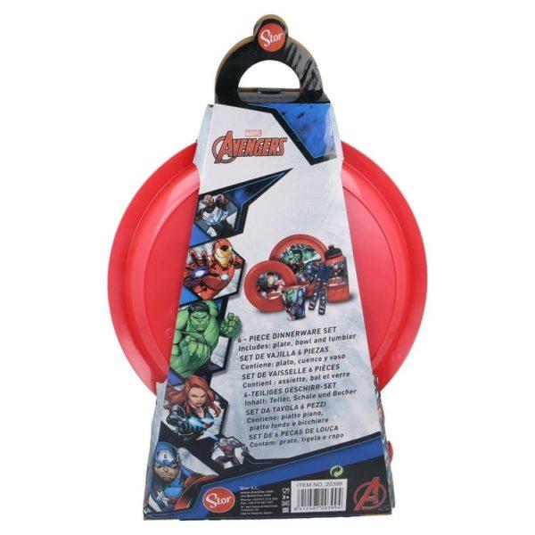 Avengers 6-set skål, tallrik, bestick, mugg och flaska Marvel