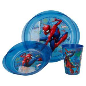 Spiderman Graffiti 3-set skål, tallrik och mugg Marvel