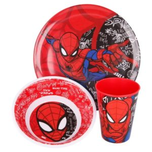 Spiderman 3-set skål, tallrik och mugg av melamin Marvel